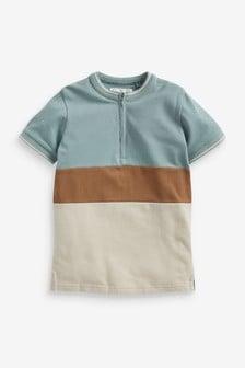 Colourblock Zip Neck Polo (3-16yrs)