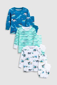 Dinosaur/Transport Snuggle Fit Pyjamas Three Pack (9mths-8yrs)