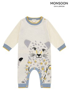 Monsoon Leopard Knitted Organic Sleepsuit