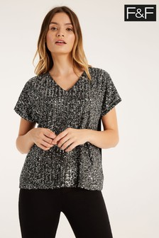 F&F Silver Sequin Two Tone Jback Blouse