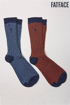 FatFace Blue Nathan Boot Socks Two Pack