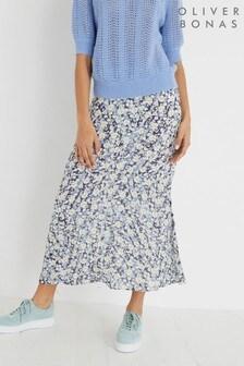 Oliver Bonas Blue Wild Daisy Floral Print Midi Skirt