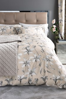 Cotton Sateen Magnolia Duvet Cover and Pillowcase Set