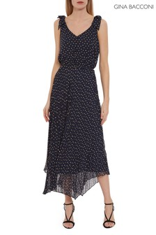 Gina Bacconi Blue Maxie Chiffon Spot Dress