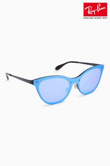 Ray-Ban® Black Rimless Cat Eye Sunglasses