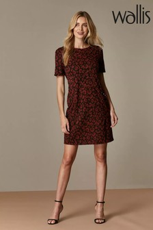 Wallis Rust Stud Animal Jacquard Shift Dress
