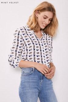 Mint Velvet White Laura Heart Print Shirt