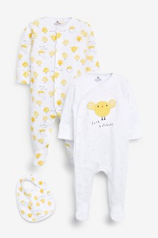 2 Pack Easter Chick Sleepsuit And Bib Set (0-12mths)