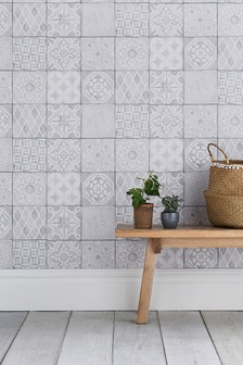 Paste The Wall Painted Tiles Wallpaper