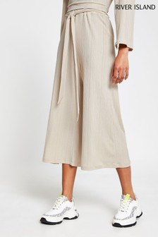 River Island Cream Beige Light Belted Ribbed Culottes