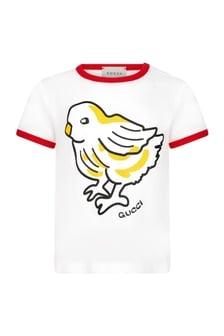 GUCCI Kids Baby Girls White Cotton Blend T-Shirt