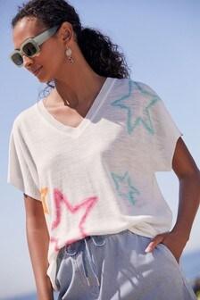 Linen Mix V-Neck T-Shirt