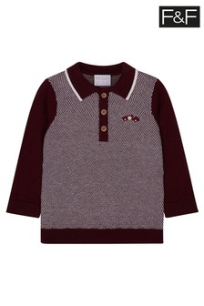 F&F Burgundy Knitted Polo