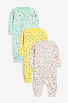 3 Pack Fluro Flamingo Sleepsuits (0mths-2yrs)