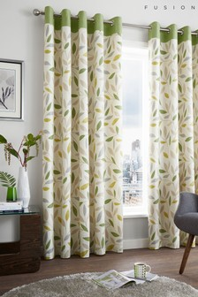 Fusion Green Beechwood Leaves Eyelet Curtains