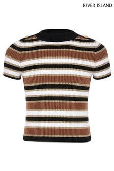 River Island Gestreiftes T-Shirt, Beige