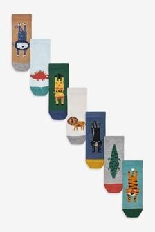 7 Pack Bamboo Rich Animal Socks