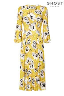 Ghost London Orange Luisa Poppy Print Crepe Dress