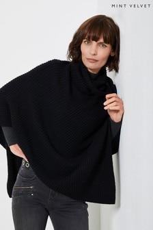 Mint Velvet Black Roll Neck Knitted Poncho