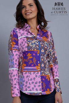 Hawes & Curtis Purple Patchwork Print Fitted Shirt