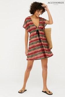 Accessorize Brown Zig Zag Lola Lace Tabbard Dress