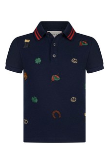 Boys Navy Piquet Embroidered Polo Top