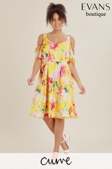 Evans Curve Yellow Floral Print Cold Shoulder Dress