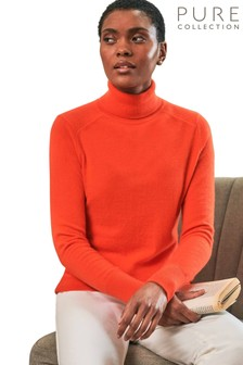Pure Collection Red Cashmere Polo Neck Sweater