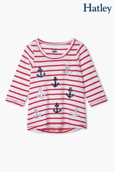 Hatley Red Nautical Anchors Long Sleeve T-Shirt