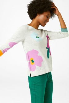 White Stuff Grey Summer Bloom Jumper