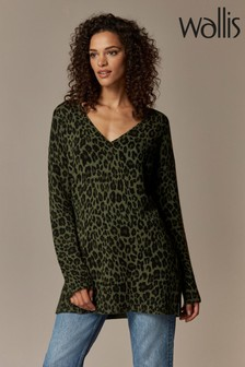 Wallis Green V-Neck Animal Compact Jumper