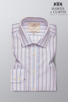 Hawes and Curtis Blue Slim Fit Multi Stripe Shirt