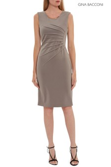 Gina Bacconi Natural Itala Dress With Studs