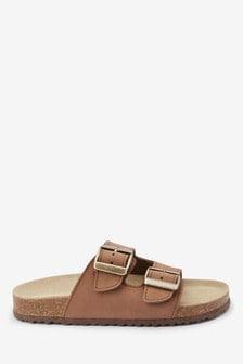Leather Buckle Corkbed Sandals (Older)