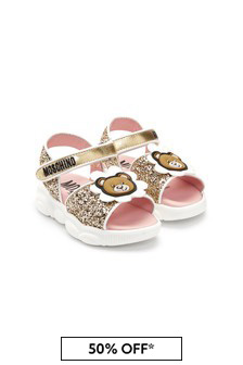 Moschino Kids Girls Silver Leather Sandals