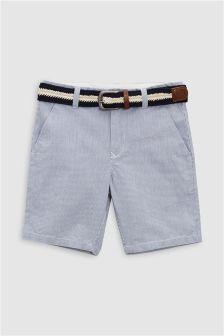 Ticking Stripe Belted Shorts (3-16yrs)