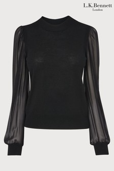 L.K.Bennett Black Rosa Merino Jumper With Silk Sleeves