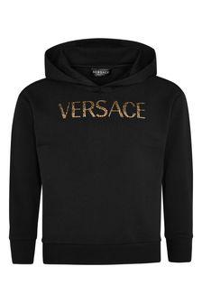 Versace Girls Black Cotton Hoodie