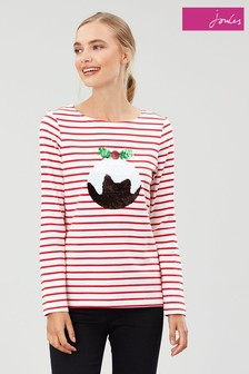 Joules Red Harbour Luxe Long Sleeve Jersey Top