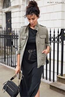 Mint Velvet Khaki Utility Washed Jacket