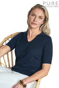 Pure Collection Blue Collared Top