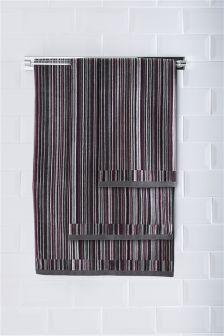 Grey And Plum Velour Micro Stripe Towel
