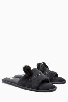 Faux Fur Bunny Slider Slippers