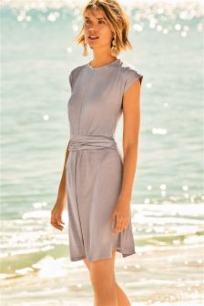 Metallic Drape Dress