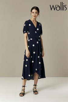 Wallis Blue Large Spot Puff Sleeve Jersey Wrap Dress