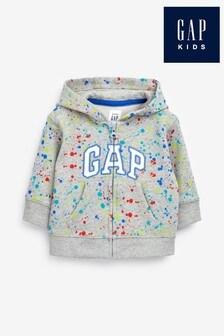 Gap Jungen Bedrucktes Kapuzensweatshirt, Grau, Kleinkinder