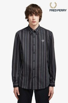 Fred Perry Black Tonal Stripe Shirt
