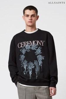 AllSaints Black Vincente Logo Long Sleeve Sweatshirt