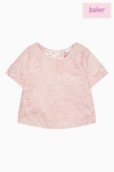 baker by Ted Baker Pink Lace Short Sleeved Top