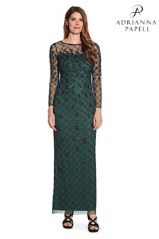 Adrianna Papell Green Beaded Long Column Gown